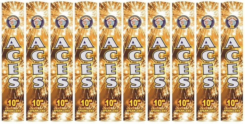 "Aces 10"" Golden Sparklers (10 Pack) By Brothers Pyrotechnics"