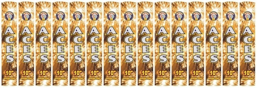 "Aces 10"" Golden Sparklers (15 Packs) By Brothers Pyrotechnics"