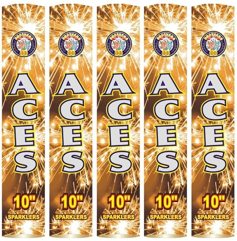 "Aces 10"" Golden Sparklers (5 Pack) By Brothers Pyrotechnics"