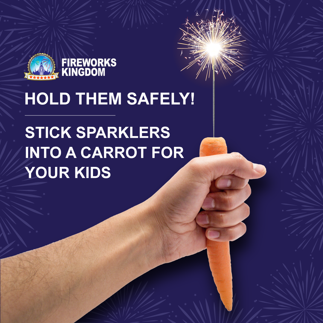 Putting a sparkler into a carrot for your kids to safely hold